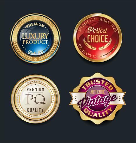 Insignias de oro y elementos de diseño de etiquetas.