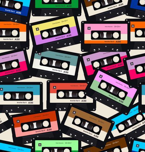 Modèle sans couture avec fond coloré de vieilles cassettes audio vecteur