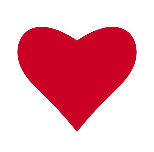 Corazón, símbolo del amor y día de san valentín. Icono rojo plano aislado sobre fondo blanco. Ilustracion vectorial - vector