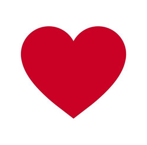 Cuore, simbolo dell'amore e San Valentino. Icona rossa piatta isolato su sfondo bianco. Illustrazione vettoriale - Vettore