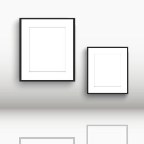 Molduras em branco com reflexos no chão
