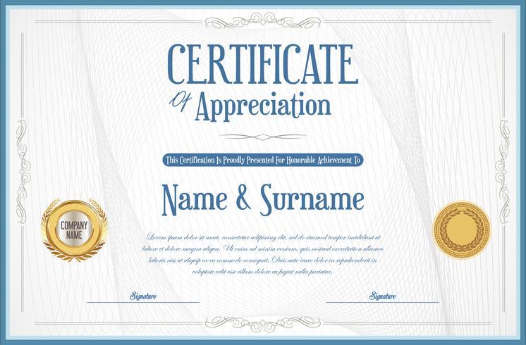 Certificate or diploma retro design template vector illustration
