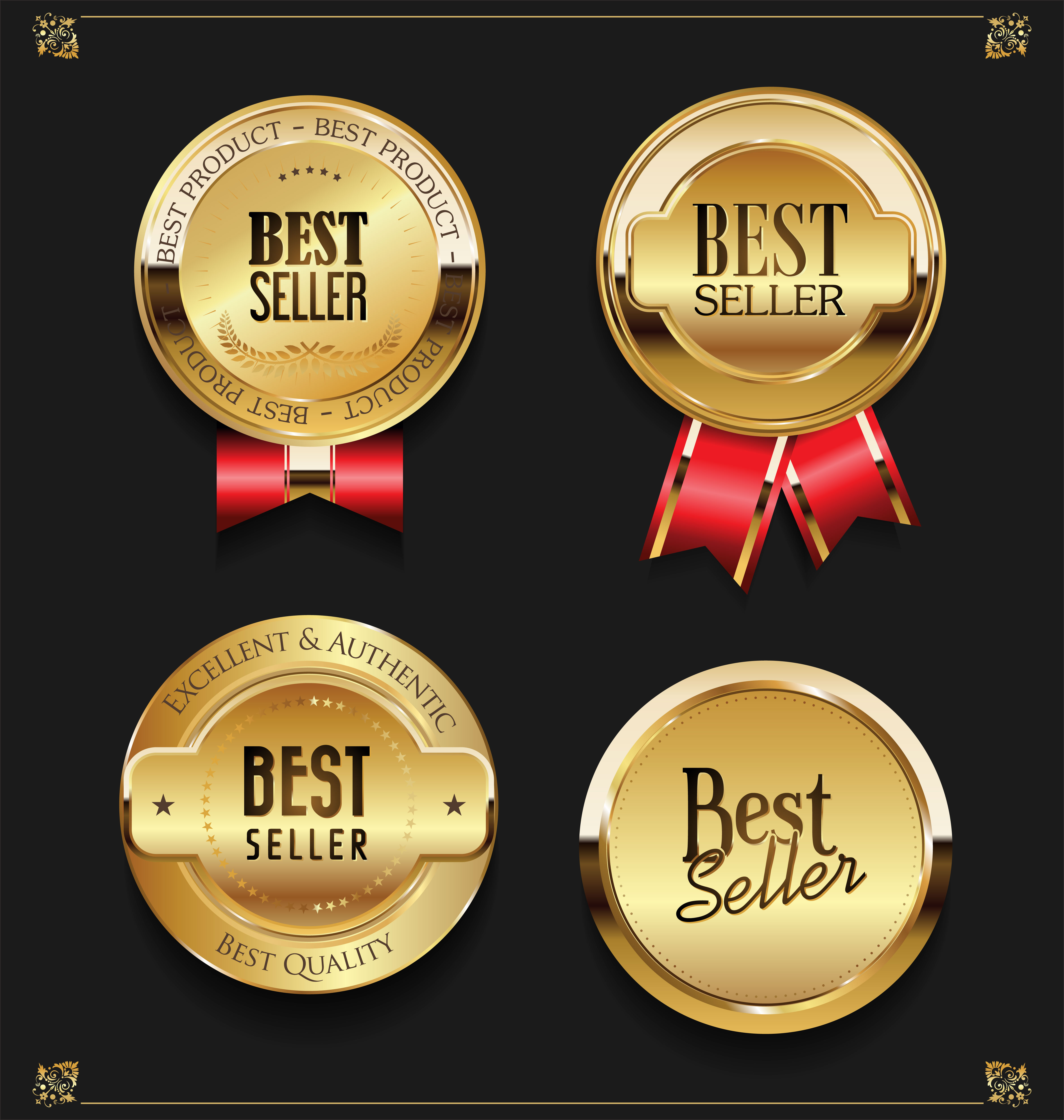 Premium Quality Badge And Banner Collection Vectors:  Collection Of Elegant Golden Premium Best Seller Labels