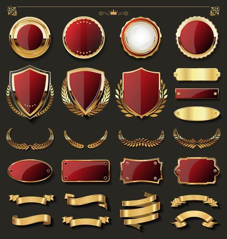Retro guld märke vektor illustration samling
