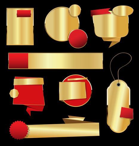 Retro Weinleseschwarzes und Goldabzeichen und Aufklebersammlung