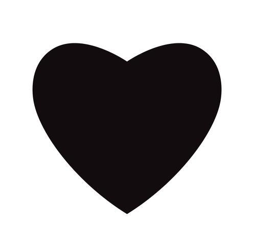 Flache schwarze Herz-Ikone lokalisiert auf weißem Hintergrund. Vektor-Illustration