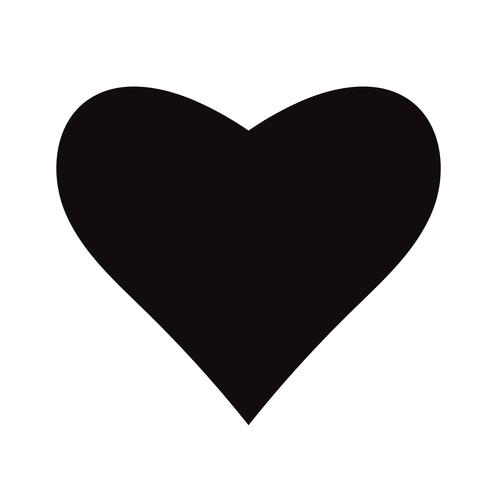 Flat Black Heart Icon Isolated on White Background. Vector ...