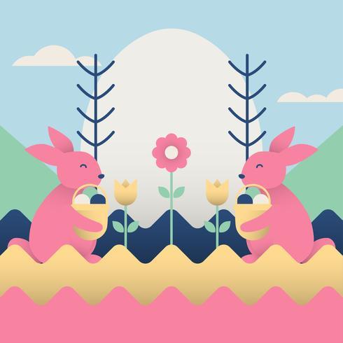 Ostern-Tapete mit rosa Häschen