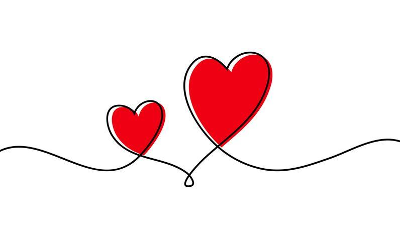 Un dibujo lineal continuo del corazón rojo aislado en el fondo blanco. Ilustración vectorial vector