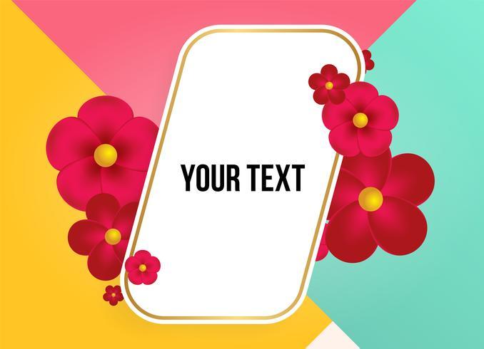 Textfeld mit schönen bunten Blumen. Vektor-Illustration