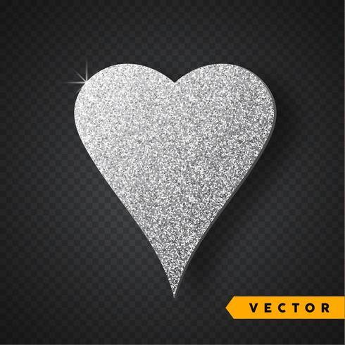 Prata de vetor brilha coração. Dia dos namorados Vector Sparkles e Glitters. Design de férias.