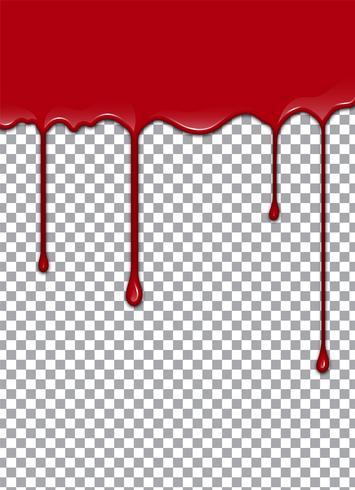 Blut oder Erdbeersirup oder -ketschup auf transparentem Hintergrund. Vektor-Illustration