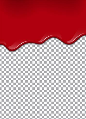 Sangre o jarabe de fresa o ketchup sobre fondo transparente. Ilustración vectorial