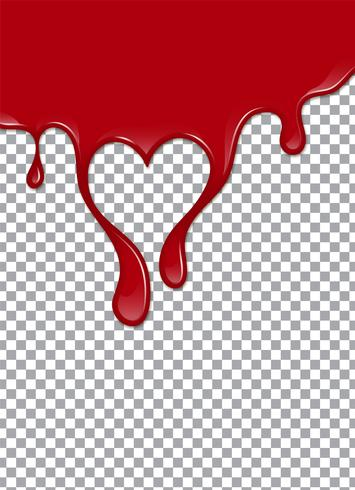 Sangue o sciroppo di fragole o ketchup su sfondo trasparente. Illustrazione vettoriale