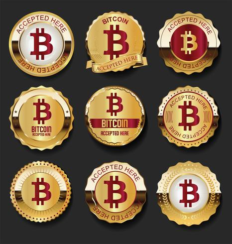 Bitcoin aceptó aquí etiquetas de oro ilustración vectorial