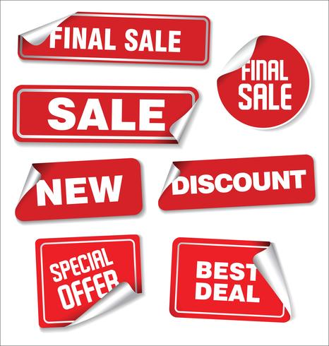 Collection colorée d'autocollants et d'étiquettes modernes de vente