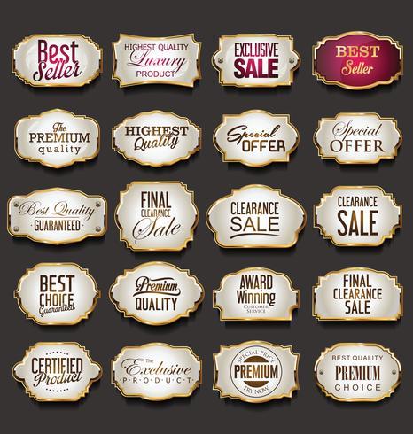 Vintage retro marcos dorados venta colección vector ilustración
