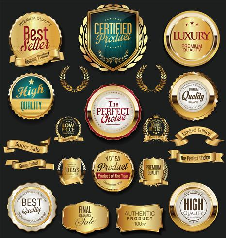 Golden sale labels retro vintage design collection vector