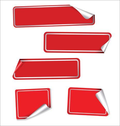 Colección de etiquetas rojas con esquinas redondeadas.