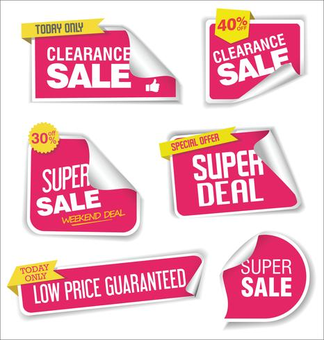 Verzameling van verkoop stickers met afgeronde hoeken vector