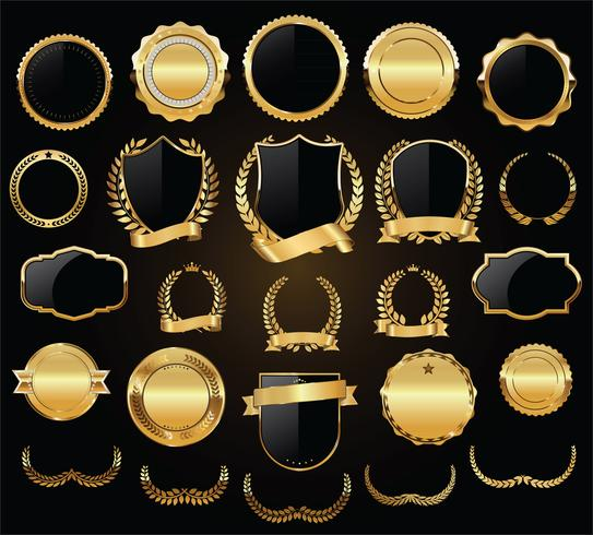 Luxury gold and silver design elements collection vector