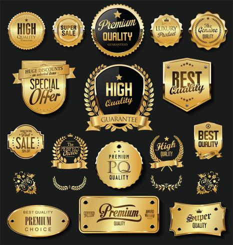 Luxury gold and black design elements collection vector