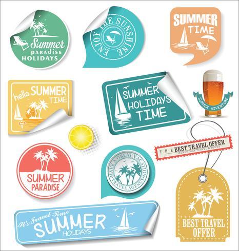 Étiquettes de conception de l'été et modèles de conception de typographie
