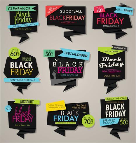 Verzameling van Black Friday-verkoopkorting en promotiebanners en etiketten vector