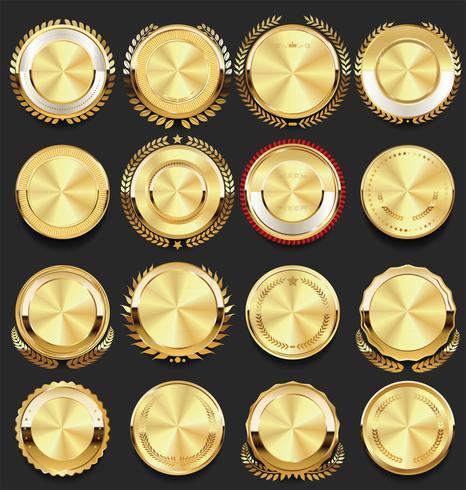 badges vintage rétro illustration vectorielle collection doré vecteur
