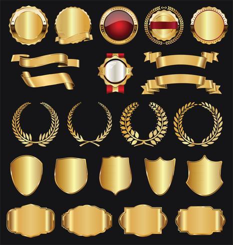 Retro gouden badge vector illustratie collectie