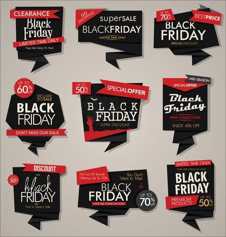 Colección de banners y etiquetas de descuento y promoción de venta de viernes negro vector