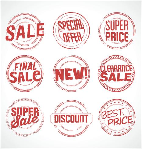 Collection de vecteurs super vente de timbres en caoutchouc grunge