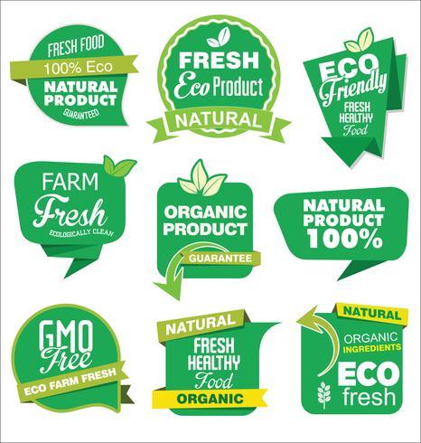 Coleção de rótulos de produtos orgânicos naturais