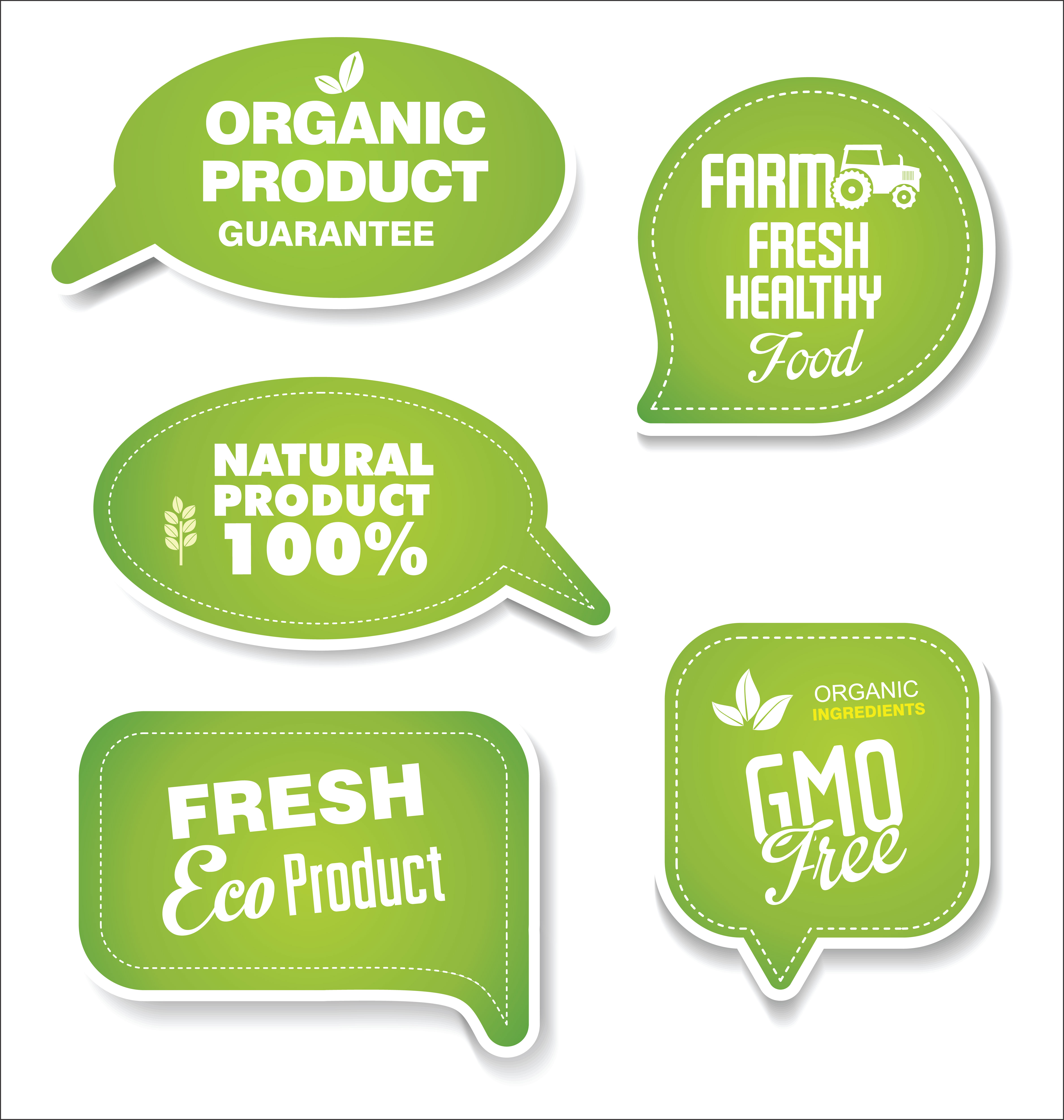 Natural Organic Products Green Collection Of Labels And
