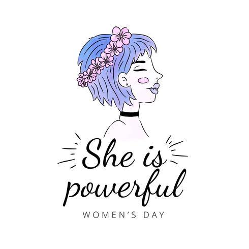 Mädchen mit dem blauen Haar und der rosa Blumen-Krone zum Tag der Frauen