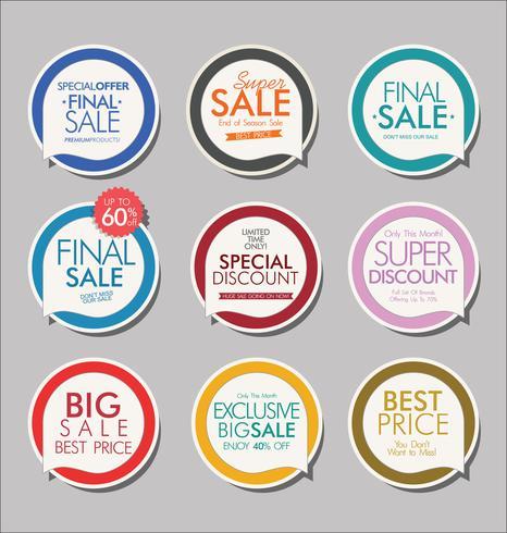 Moderne Abzeichen Aufkleber und Etiketten-Sammlung