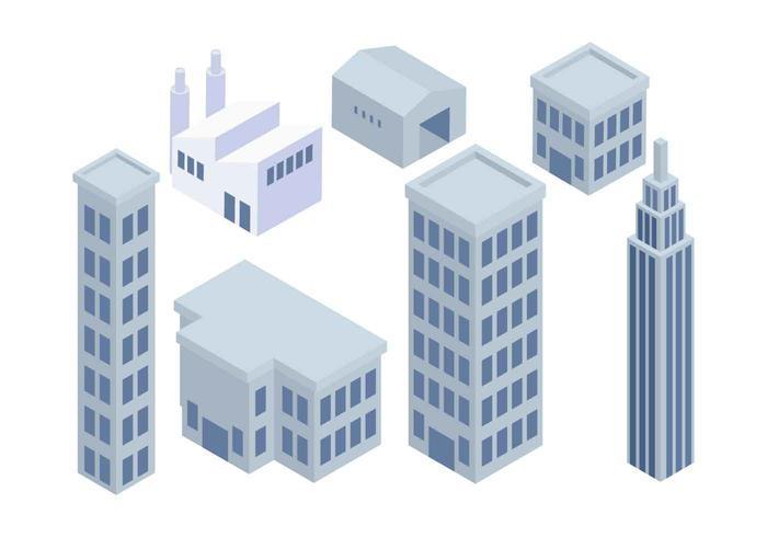 Isometric Industrial Buildings Set Vector