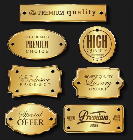 Golden retro labels badges frames and ribbons collection vector