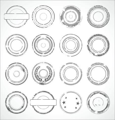 Schwarzweiss-Vektor der runden Papieraufkleber des Schmutzes