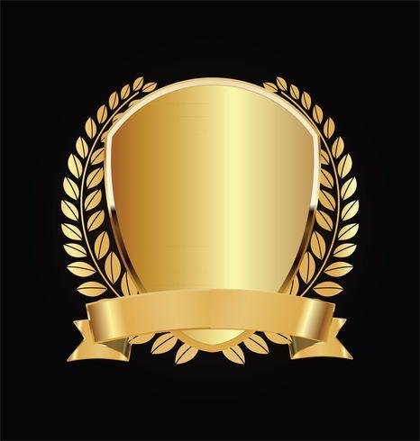 Escudo dorado y negro con laureles de oro.