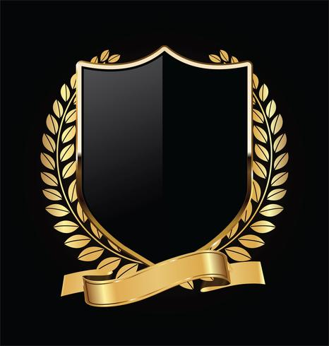 Gold and black shield with gold laurels vector