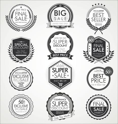 Retro vintage sale badges and labels collection vector