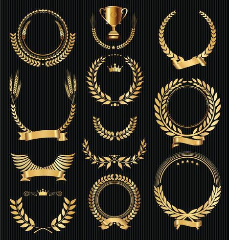 Colección de ilustración de vector retro vintage de corona de laurel