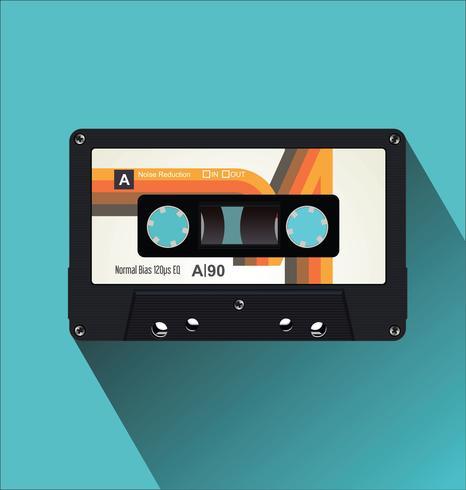 Ilustración de vector de concepto plano de cinta de cassette vintage retro
