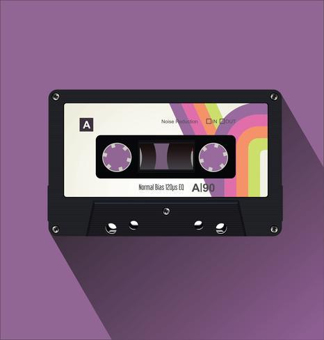 Ilustración de vector de concepto plano de cinta de cassette vintage retRetro