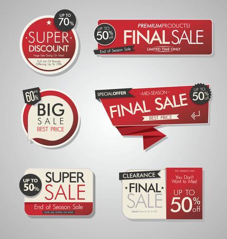 Venta moderna de banners y etiquetas de colección moderna. vector