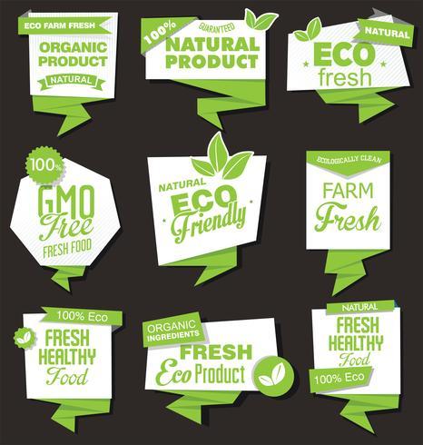 Collection d'étiquettes de produits biologiques naturels vecteur