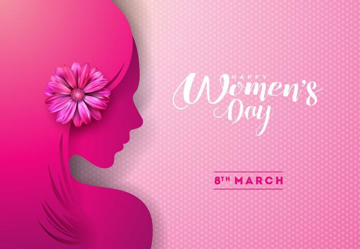 Diseño de la tarjeta de felicitación del día de la mujer vector