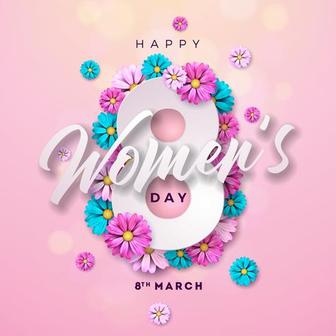 Happy Women's Day Floral Greeting card vector