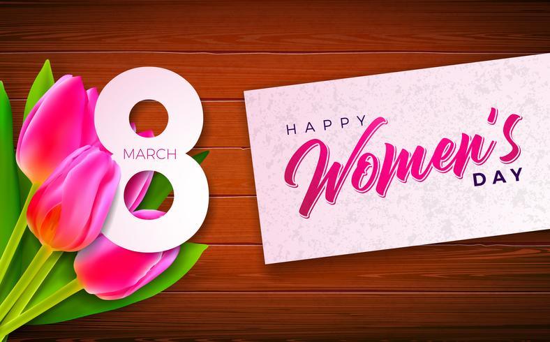 Ilustración del día de la mujer feliz con flor de tulipán vector